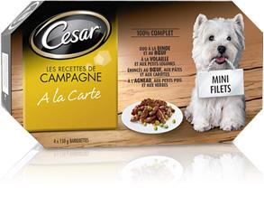 Cesar  -  Patées pour chiens 4 barquettes de 150g
