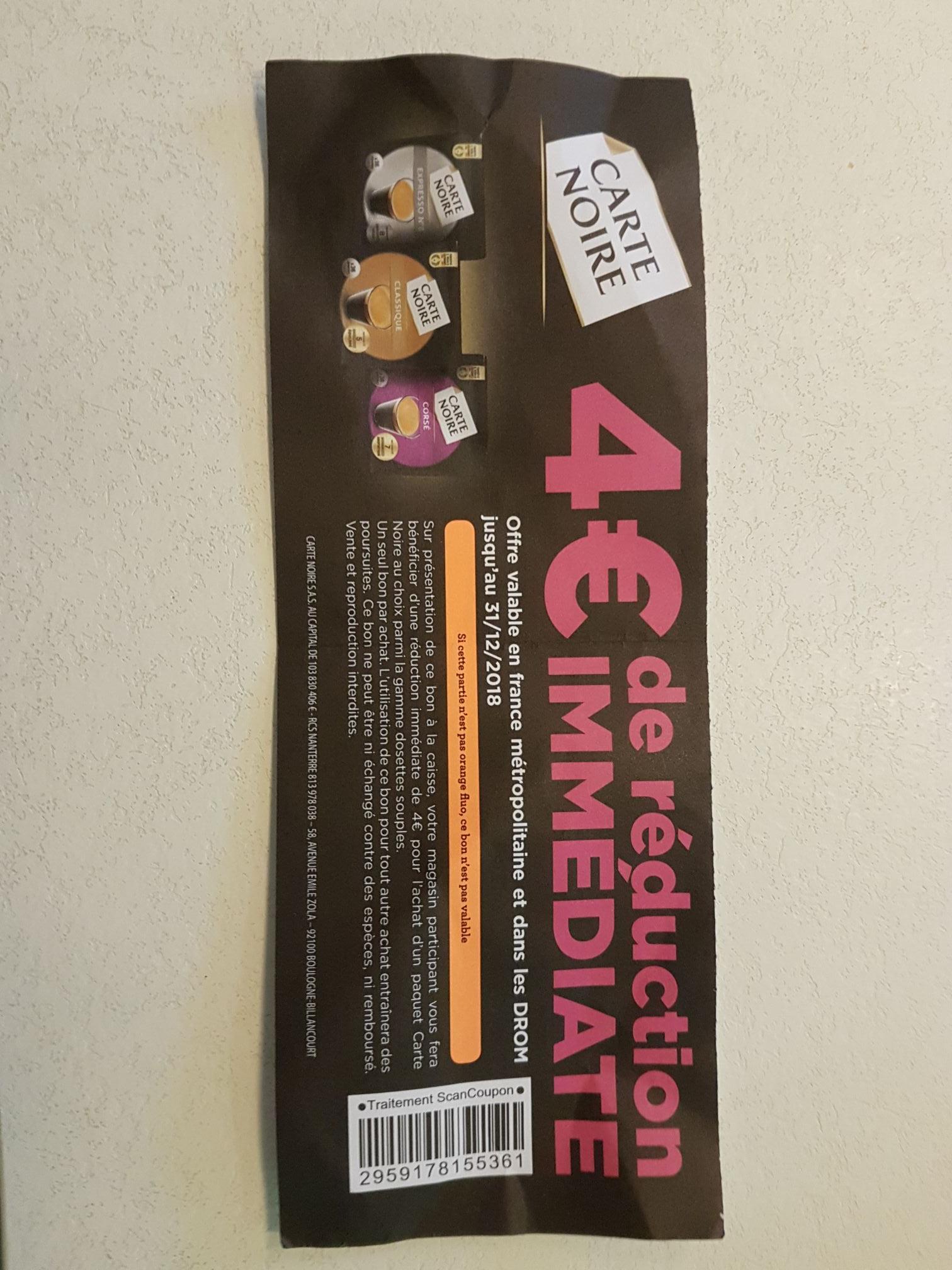 1 paquet de Dosettes Souples Carte Noire Gratuit (via ODR)