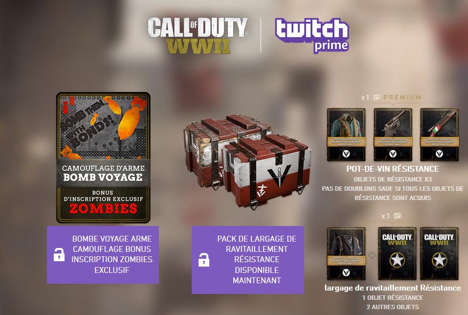 [Twitch / Amazon Prime] Bonus gratuits pour Call Of Duty WW2 (Dématérialisés)