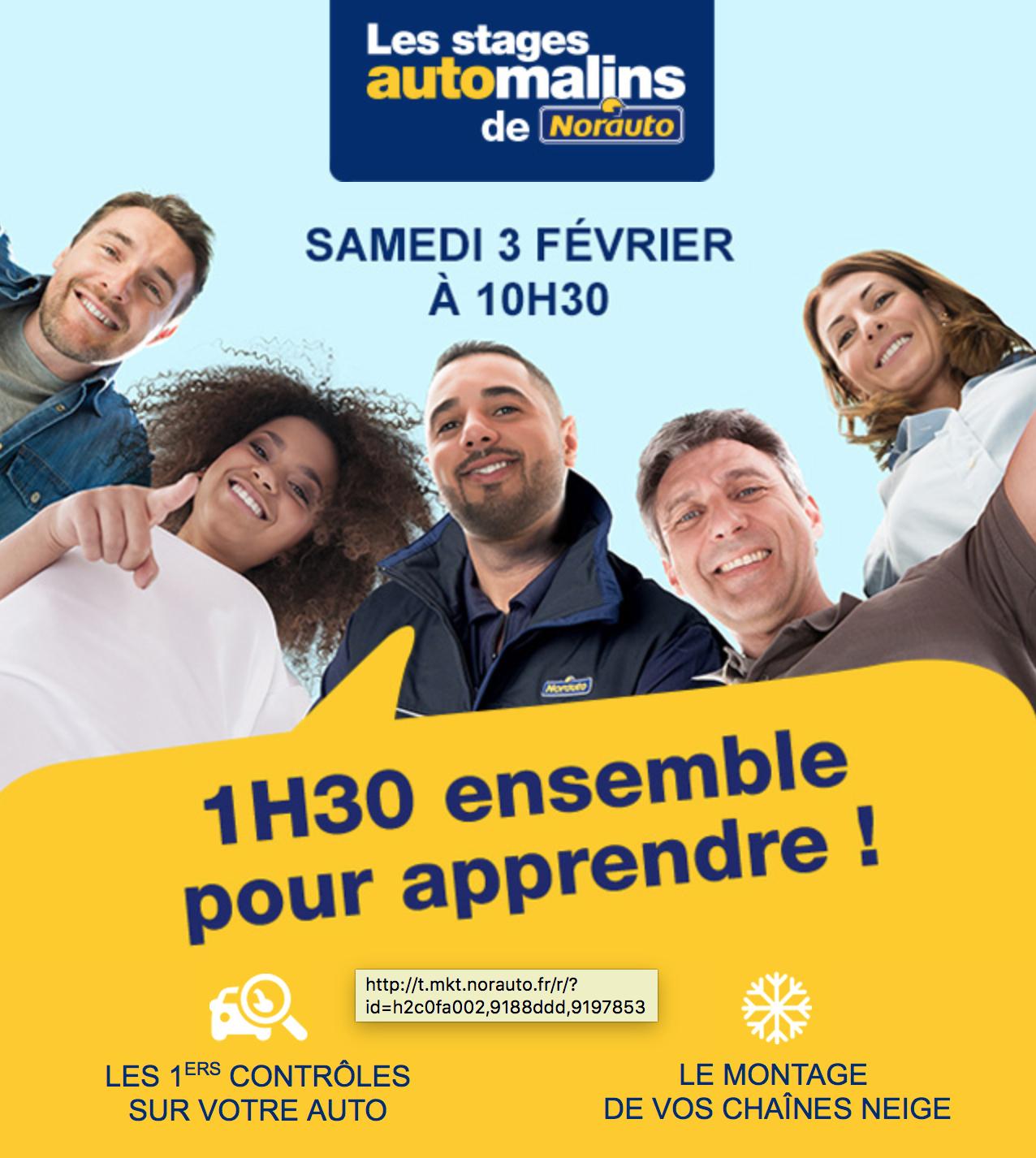 Stage gratuit Automalins - 1h30 pour apprendre chez Norauto pour le 3 Février