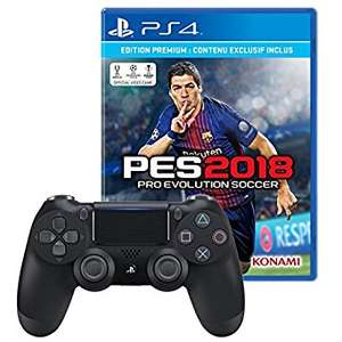 Jeu PES 2018 sur PS4 Premium D1 Edition + Manette PS4 DualShock 4 V2 Noire