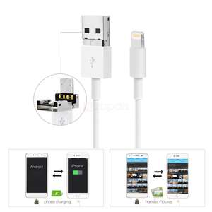 Câble de charge OTG Lightning vers USB et Micro Data USB 2 en 1