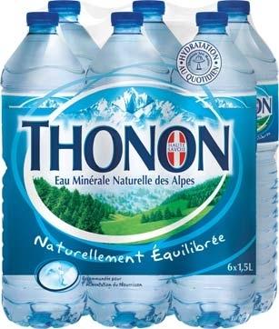 4 packs de 6 bouteilles 1,5 L d'eau Thonon