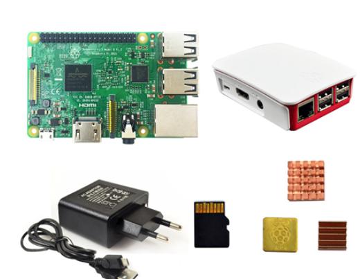 Kit de Démarrage - Carte de Développement Raspberry Pi 3 B + Boîtier officiel + Alimentation européenne + Dissipateurs + Carte microSD 16Go