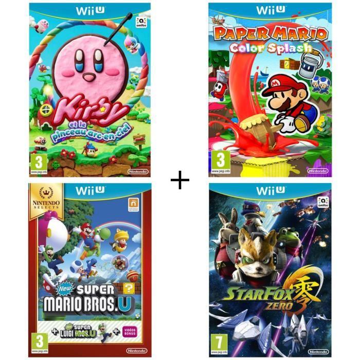 Pack de 4 jeux Nintendo WII U : Kirby et le Pinceau Arc-en-ciel + Paper Mario Color Splash + New Super Mario Bros.U Select + Starfox Zero