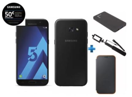 """Smartphone 5.2"""" Samsung Galaxy A5 2017 (Plusieurs coloris) + Batterie externe Fast Charge 10 000 mAh + Neon Flip Cover + Perche Selfie (via ODR de 50€)"""