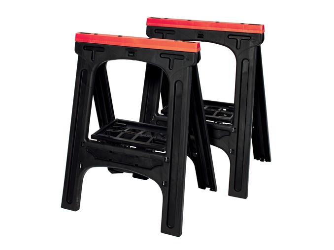 Set de 2 tréteaux en plastique pliables - 80 kg max., noir