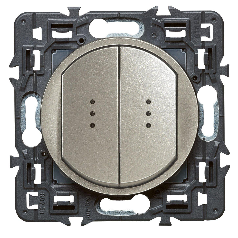 [Prime] Interrupteur double lumineux Legrand 099514 Céliane - 250 V, Titane