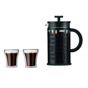 Cafetière à piston Bodum 1 litre + 2 tasses double paroi