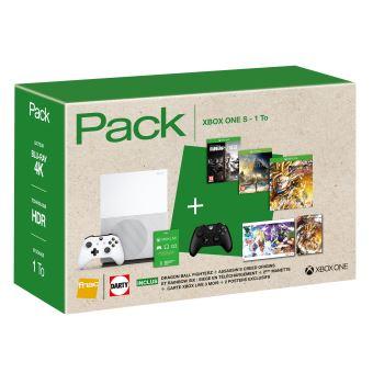 Pack Console Xbox One S 1 To (Assassin's Creed Origins + Rainbow Six : Siege + Dragon Ball Fighter Z, 2ème manette inclus) + 30€ en chèque cadeau