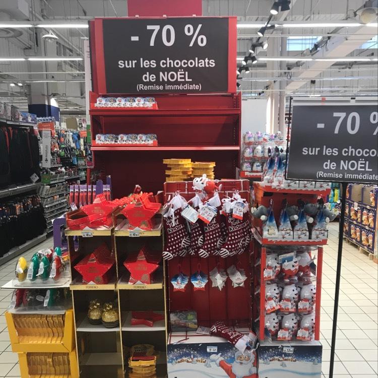 70% de réduction sur tous les Chocolats de Noël au Carrefour Cesson-Sévigné (35)