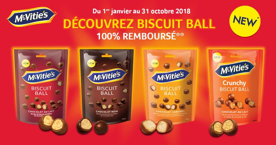 Un produit McVitie's Biscuit Ball gratuit (via ODR 100%)