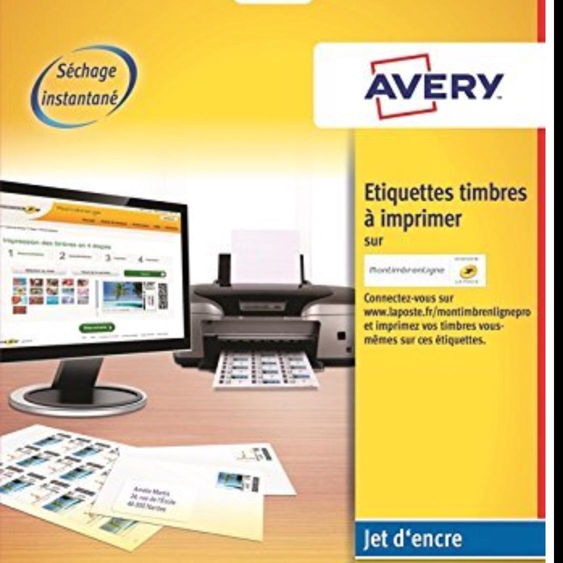 [Panier Plus] Boîte de 240 Etiquettes Autocollantes Avery J8159 Blanc pour Timbres - 24 par Feuille