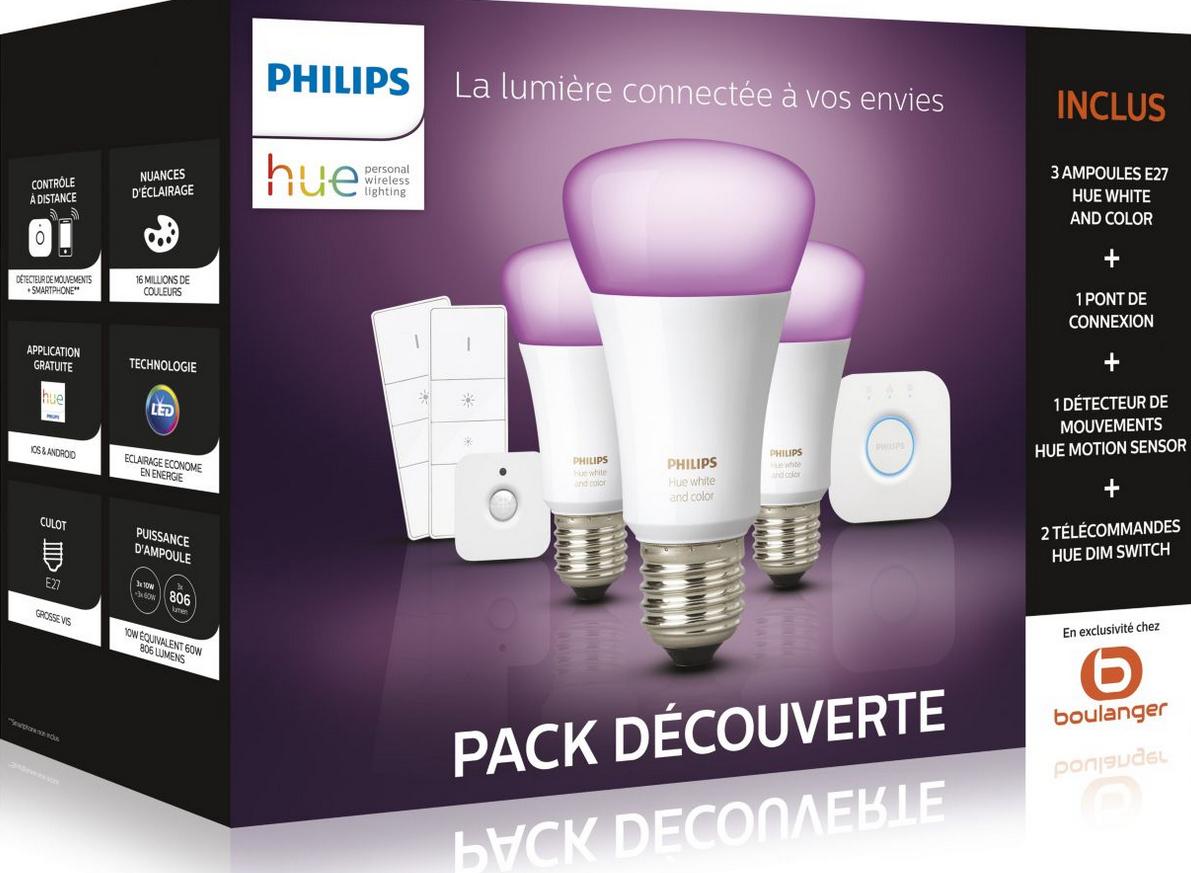 Pack Philips Hue - 3 Ampoules E27 White & Colors (V3) + Pont + Détecteur de Mouvements + 2 Télécommandes Dimmer
