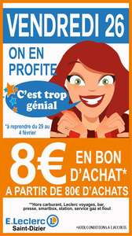 8€ en bon d'achat pour 80€ dépensés  - Saint dizier (52)