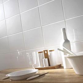 Carrelage mural CROCUS blanc brillant lisse 15 x 15 cm - Le m²