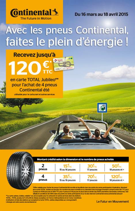 Jusqu'à 120€ en carte Total Jubileo pour l'achat de 2 ou 4 pneus Continental été