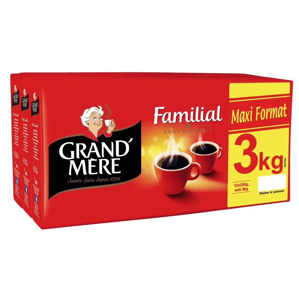 Lot de 12 paquets de café moulu Grand'Mère - 250 g
