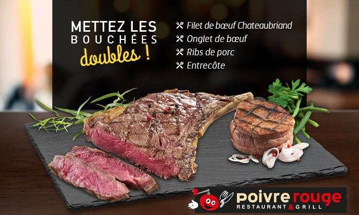 1 grillade de viande offerte pour 1 grillade de viande achetée chez Poivre Rouge