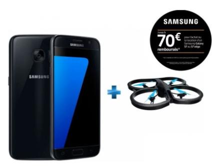 "Smartphone 5.1"" Samsung Galaxy S7 Noir + Drone Parrot AR Drone 2.0 Power Edition Bleu (via ODR de 70€)"