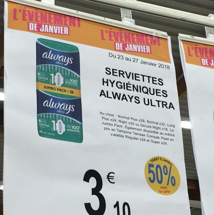 Paquet de 28 Serviettes hygiéniques Always Ultra (via 50% sur la carte Leclerc)