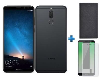 """Smartphone 5.9"""" Huawei Mate 10 Lite (Noir ou Bleu) - Full HD+, Kirin 659, RAM 4 Go, ROM 64 Go + Étui Flip Stand Noir + Verre trempé"""