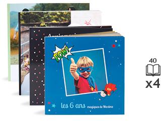 Sélection d'offre promotionnelles - Ex : Pack 4 Livres photo - Style Carré - Couverture souple (40 pages)