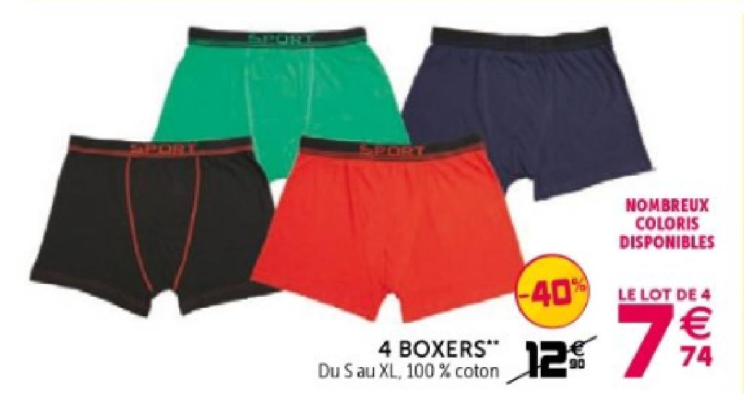 Lot de 4 boxers