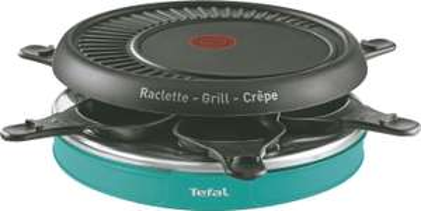 Raclette électrique Tefal RE129412 avec étui de rangement, 6 coupelles et 6 spatules antiadhésives