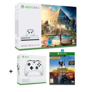 Sélection de packs Xbox One S - Ex : Console Microsoft Xbox One S (500 Go) + Assassin's Creed Origins (Dématérialisé) + 2ème Manette + PlayerUnknown's Battlegrounds
