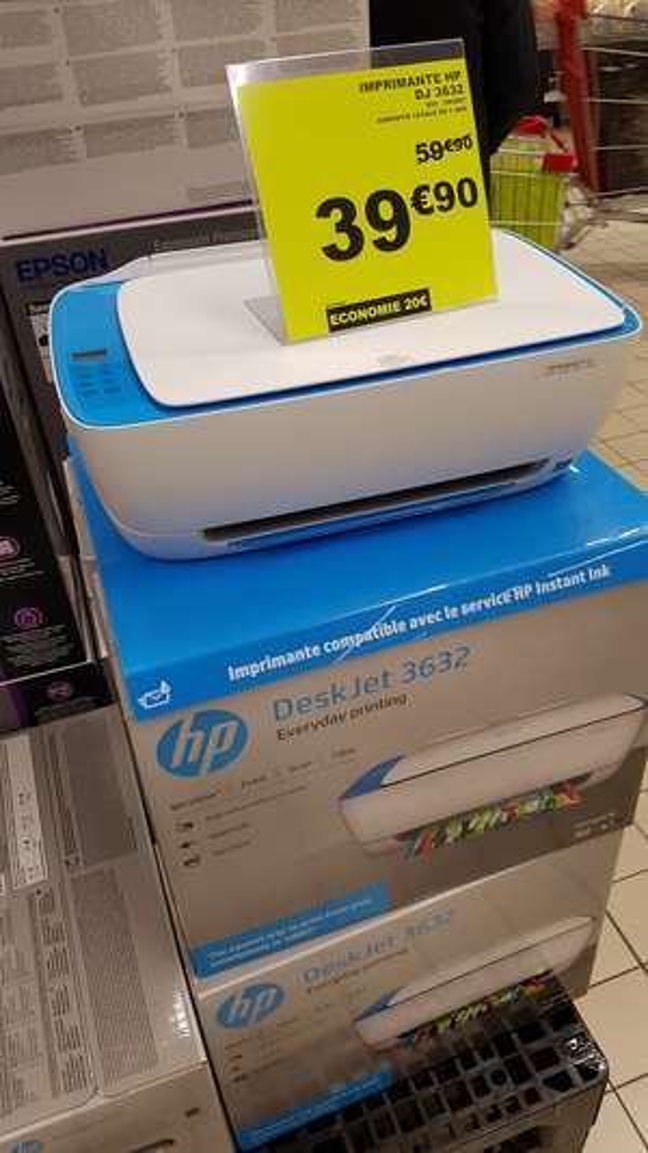 Imprimante HP DeskJet 3632 - Jet d'encre, Couleur, Scanner, WiFi - Auchan Porte des Alpes, St-Priest (69)