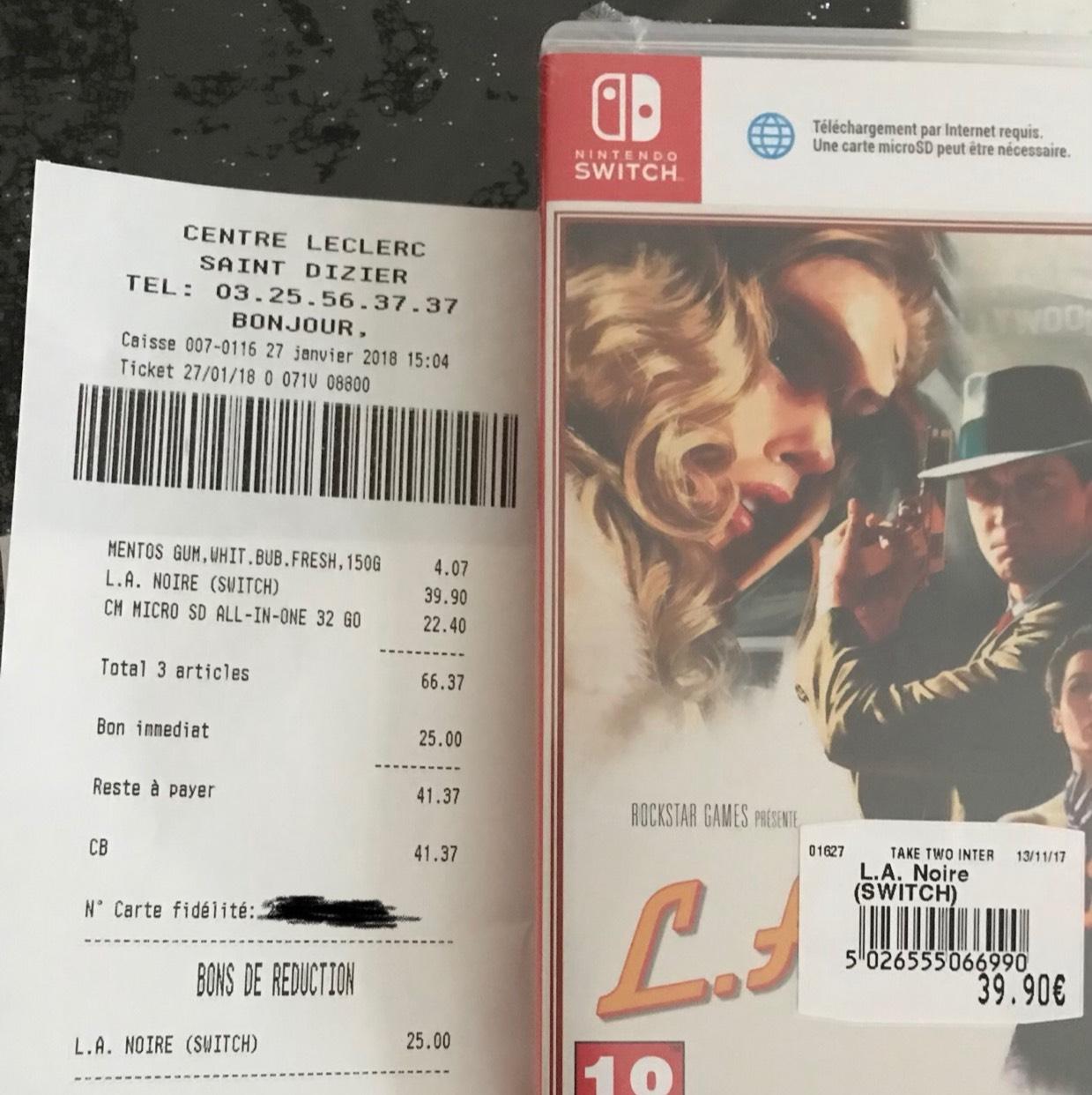 Jeu L.A. Noire sur Nintendo Switch - Leclerc Saint Dizier (52), Gouesnou (29)