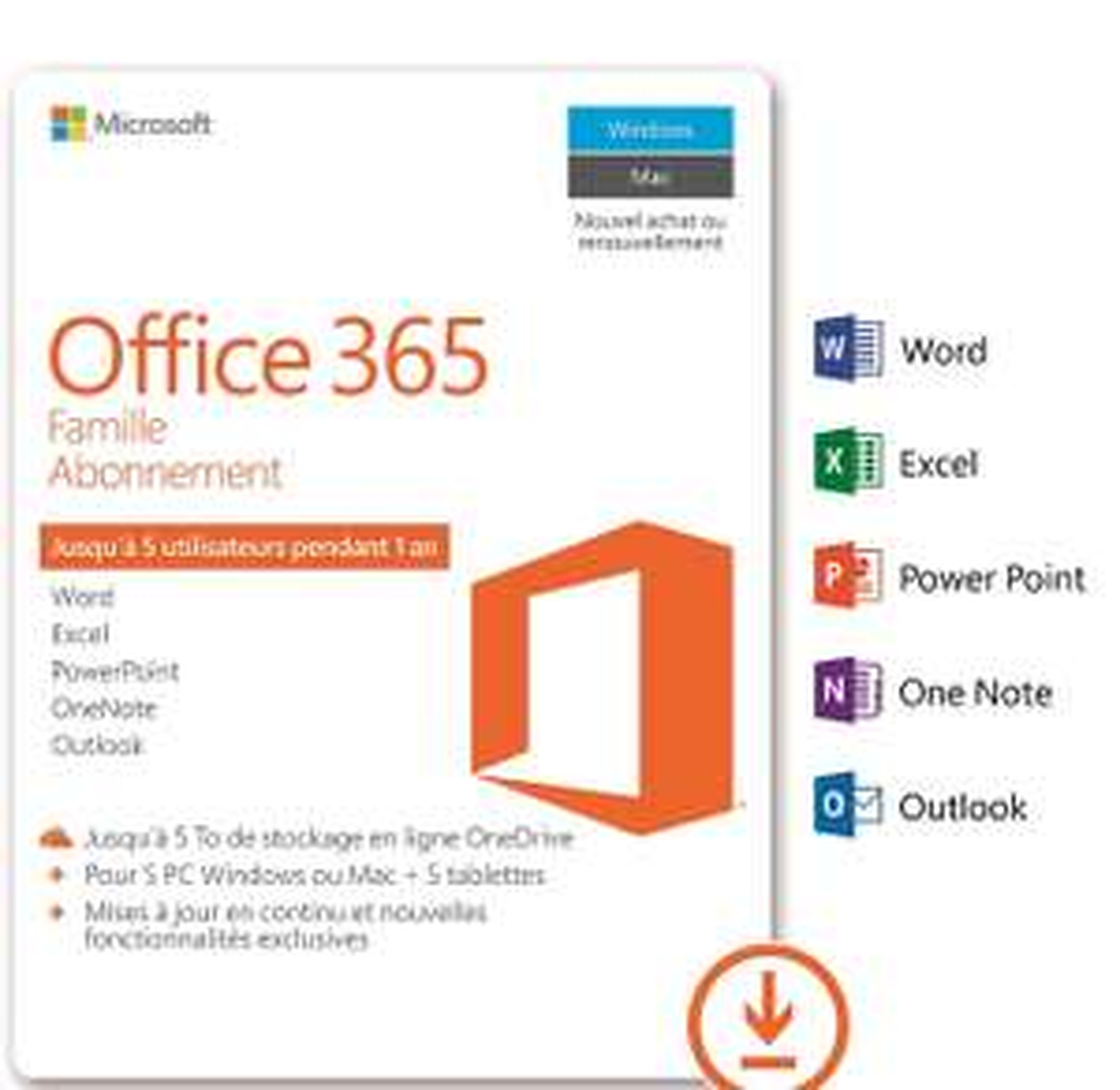 Licence 1an Microsoft Office 365 Famille pour Windows ou Mac - 5 Postes, Dématérialisé (via ODR 20€)