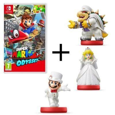 Pack jeu Super Mario Odyssey sur Nintendo Switch + Lot de 3 amiibos (Mario + Peach + Bowser)