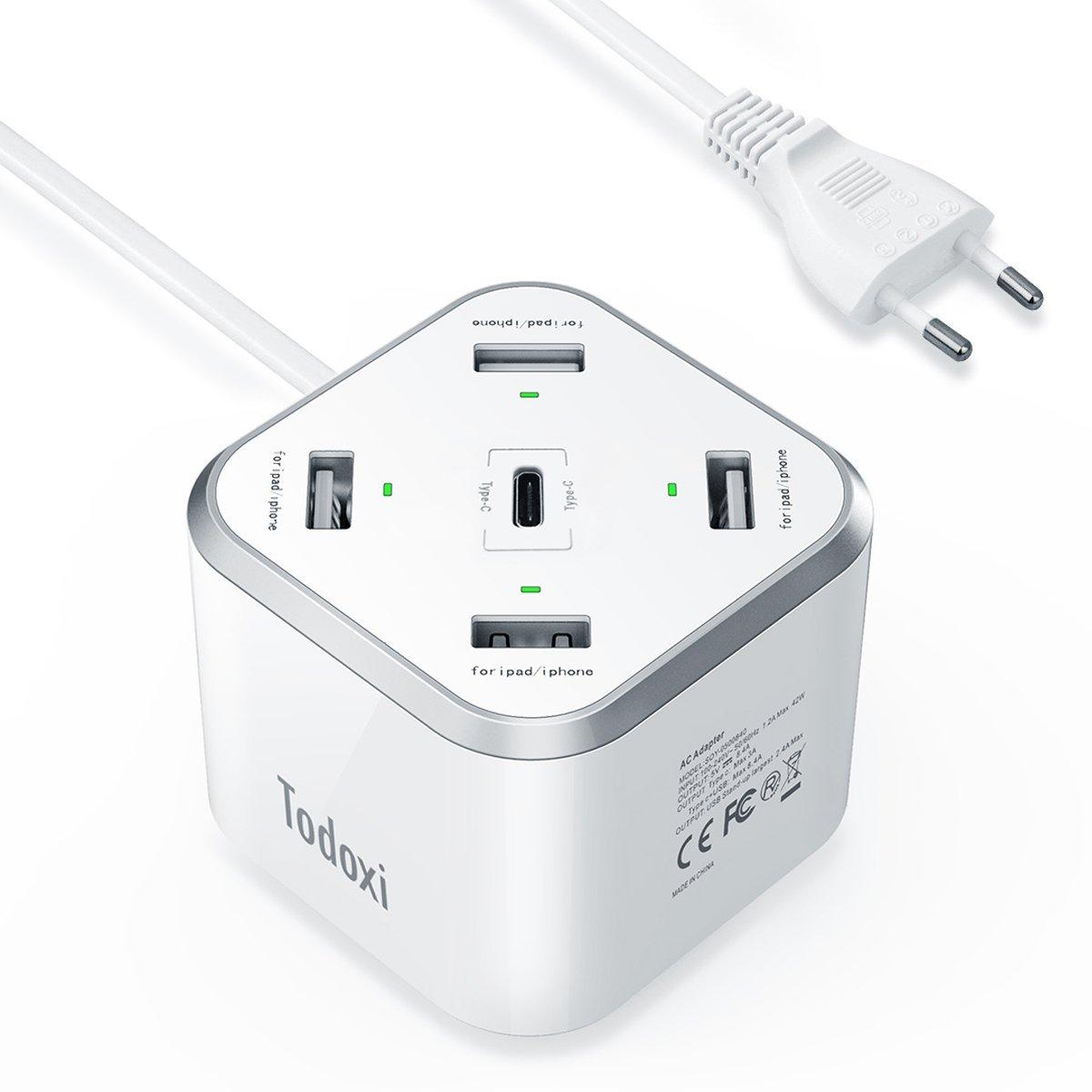 Chargeur USB Todoxi - 4 Ports USB 5V/2.4A + 1 USB-C 5V/3A (Vendeur tiers)