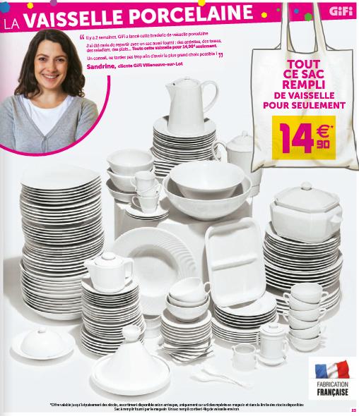 Sac a remplir de vaisselle diverse - Ex : 27 Assiettes à dessert + 21 Assiettes plates + 23 Tasses + 24 Assiettes à tasse