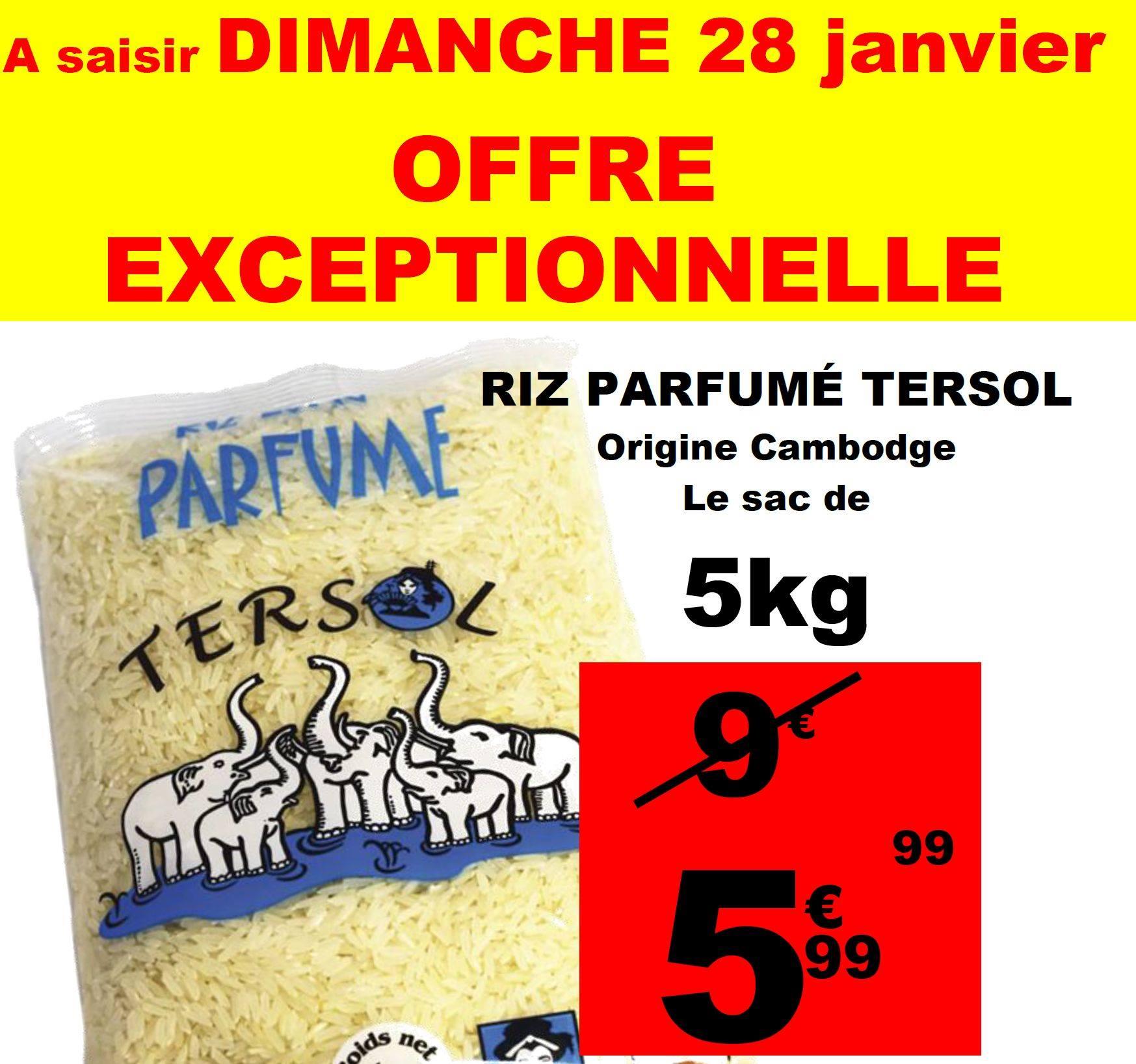 Sac de Riz parfumé Tersol 5 Kg - Auchan Villetaneuse (93)