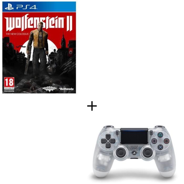 Manette Sony PS4 Dualshock 4 V2 + Jeu Wolfenstein II sur PS4