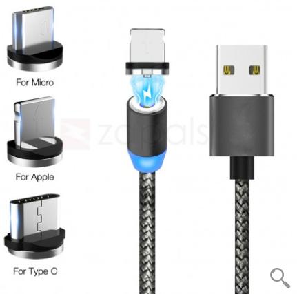 Câble USB 1 mètre magnétique tressé avec indicateur de charge LED usb 2.1A