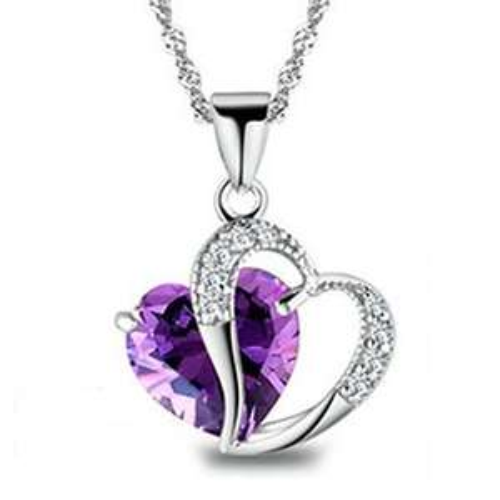 Collier Argent 925/1000 Revenne avec cristaux Swarovski en forme de cœur