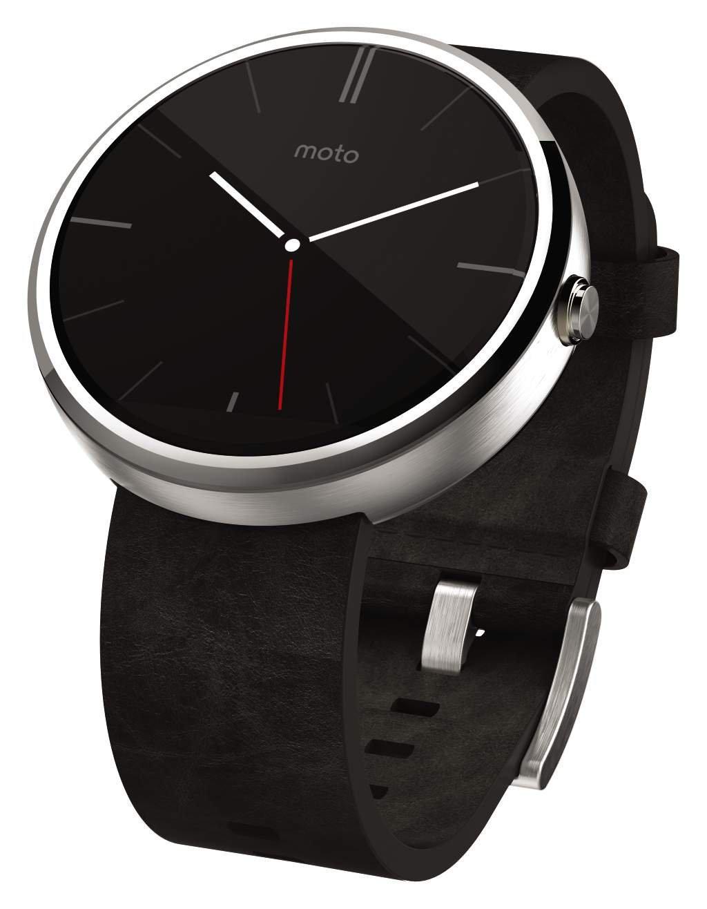 Montre connectée Motorola Moto 360 avec bracelet en cuir noir ou gris à
