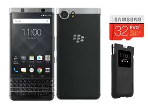 "Smartphone 4.5"" BlackBerry KEYone - S625, 3Go de RAM, 32Go, noir + Carte microSD 32Go Samsung EVOPlus + Coque Smart Pocket KEYone"