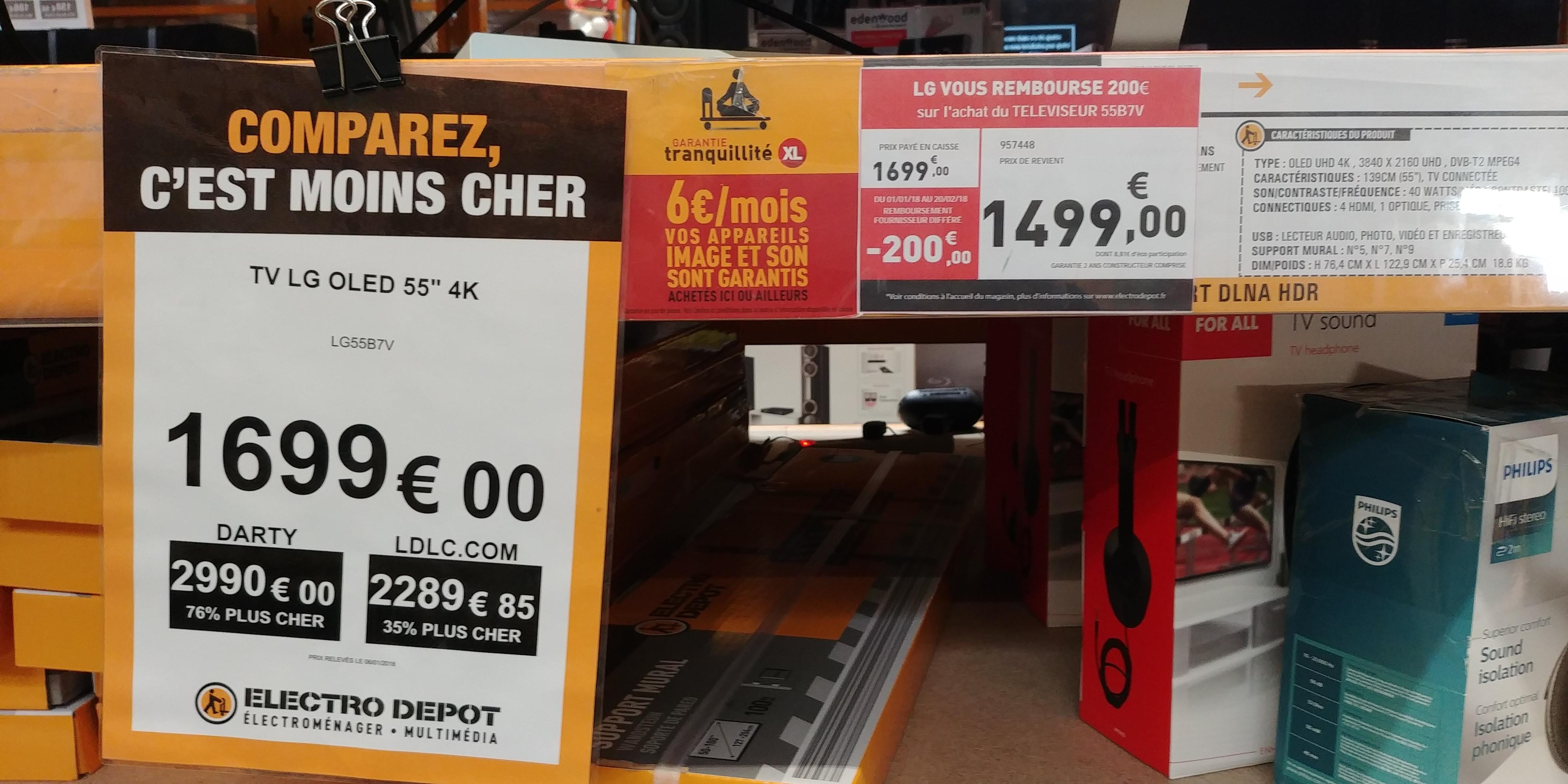"""TV 55"""" LG OLED55B7V - UHD 4K, HDR, Smart TV (Via ODR 200€) - Electro-dépôt Vitrolles (13)"""
