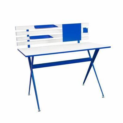 Bureau contemporain Archi - 120x60cm, métal époxy blanc et bleu