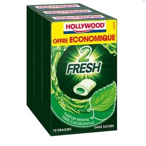 2 Lots de 3 Boites de Chewing-gum Hollywood Dragées Sans Sucres (via BDR)