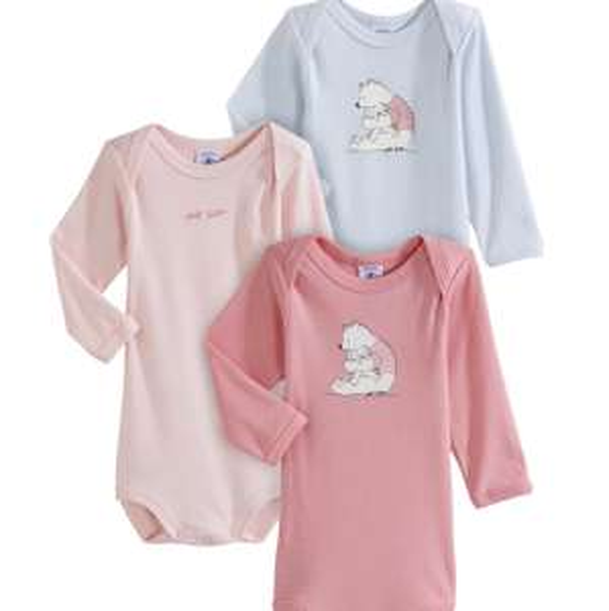 Lot de 3 Bodys Petit Bateau pour Enfants (Filles) - Tailles : 3 ou 12 Mois