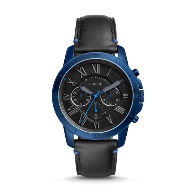 Montre Fossil Grant Sport chronographe en cuir noir