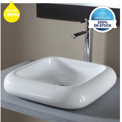 Vasque Carrée Design à Poser - Blanc (planetebain.com)