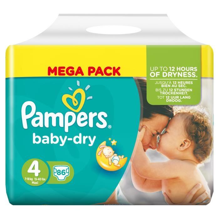 [Club Bébé] Paquet de couches Pampers Baby-Dry - taille 4, x86 (via 14.94€ sur le carte de fidélité) au Supermarché Match Drive