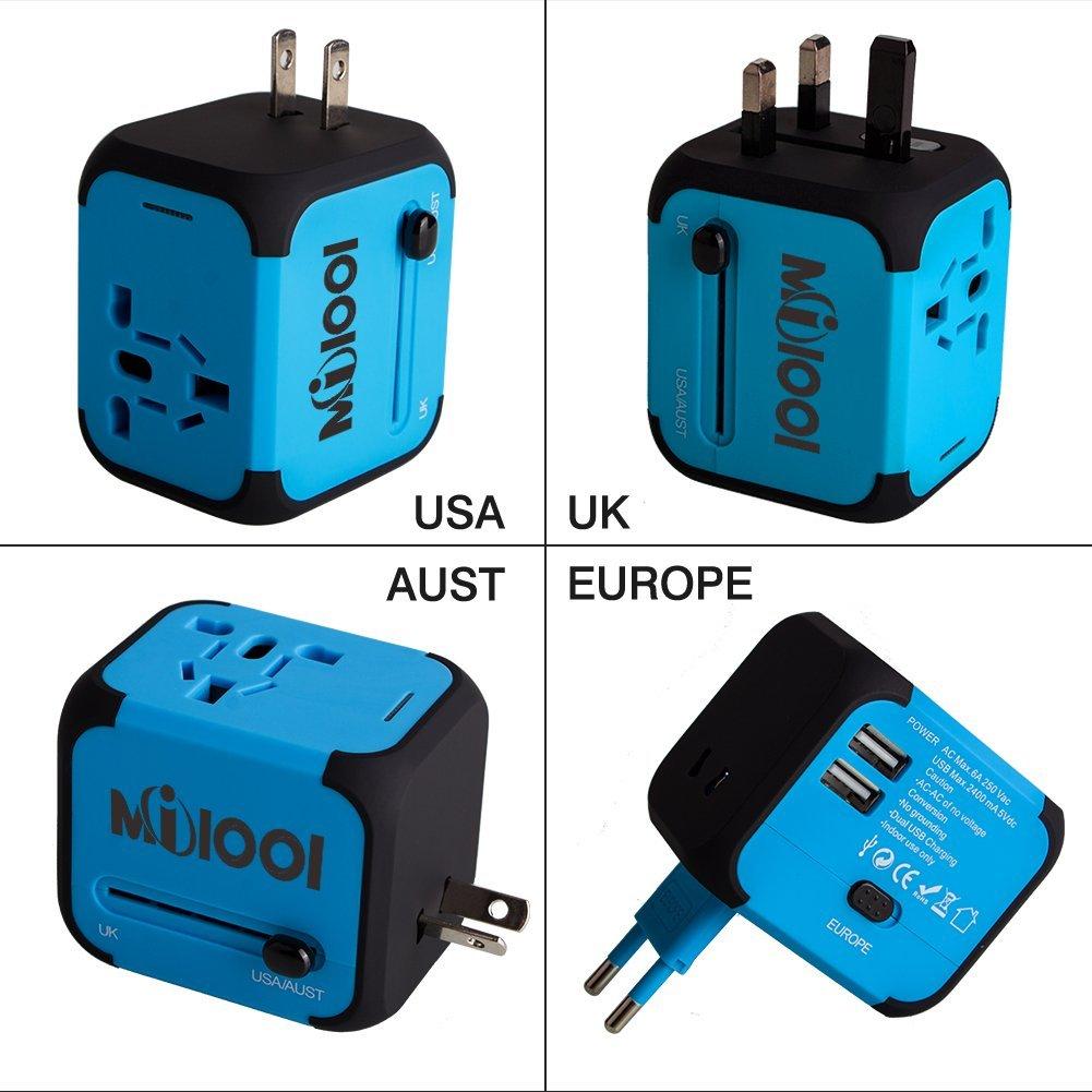 Adaptateur de voyage Milool - avec 2 ports USB, bleu (vendeur tiers)